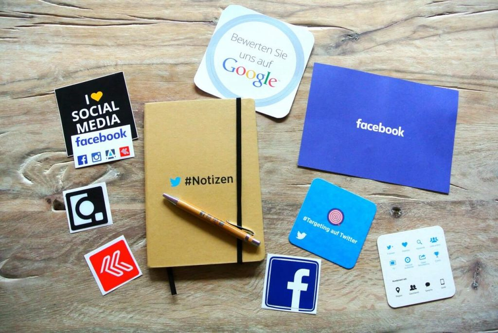 Social media flyers on the table